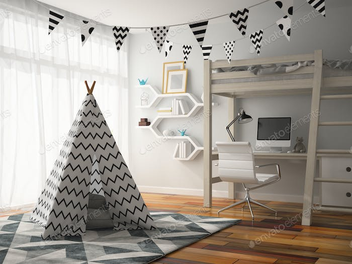 part of Interior with wigwam 3D rendering