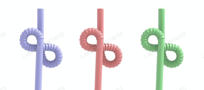 Drinking straws infinity symbol isolated against white background. 3d illustration