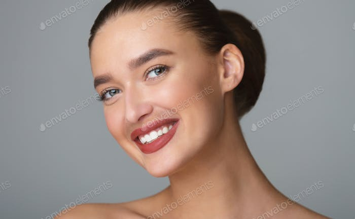 Beautiful woman with natural moustache, close up