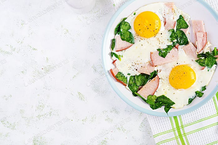Fried eggs  with ham and spinach.
