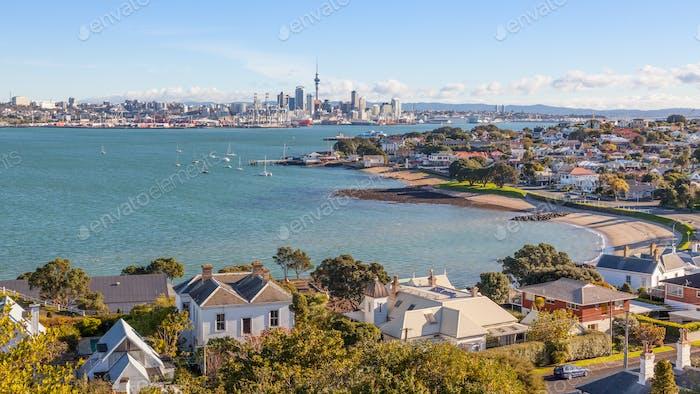 Devonport and Auckland City Skyline