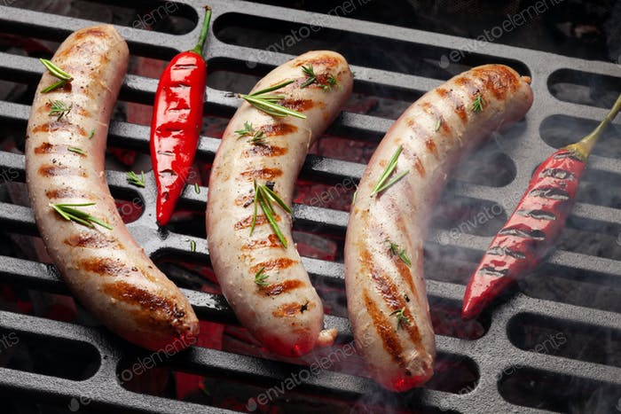 Hot spicy grilled sausages
