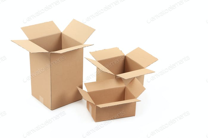 Opened cardboard boxes.
