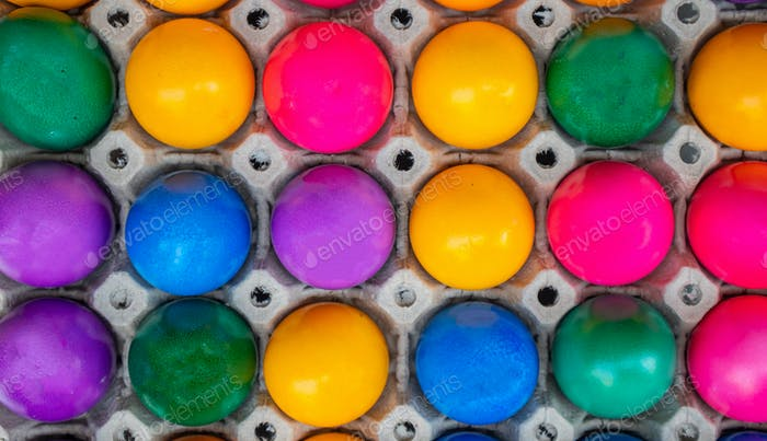 Colorful Easter eggs full background. Top view