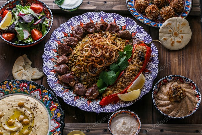 Middle eastern or arabic dishes: shish kebab, falafel, hummus, rice, tahini, kashke bademjan, pita