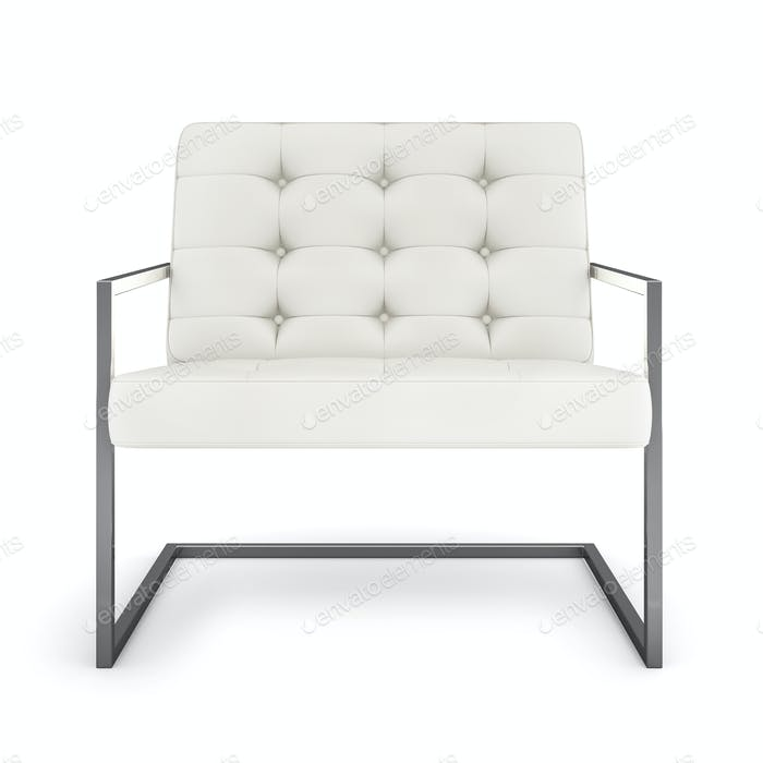 White modern armchair isolated on white background 3D rendering