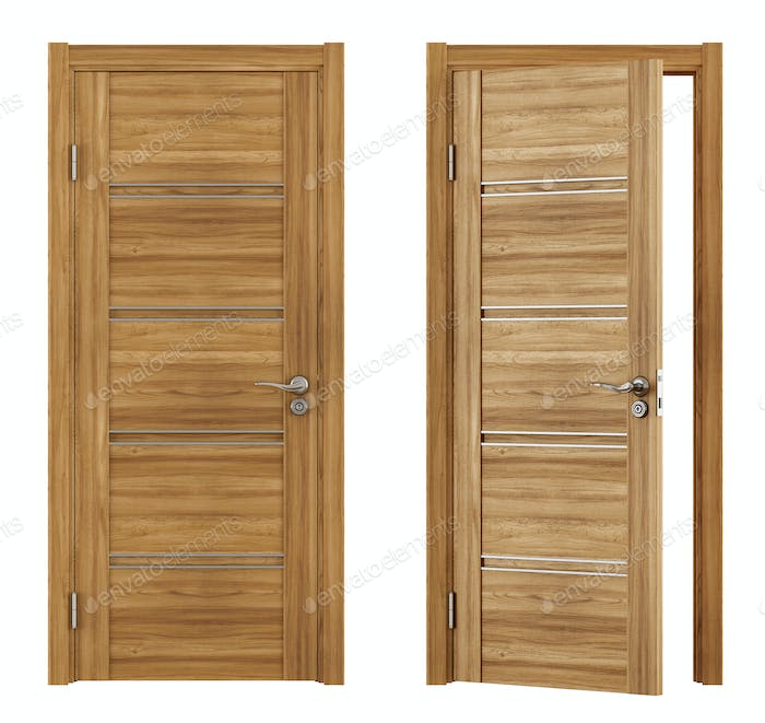 Wooden doors on white
