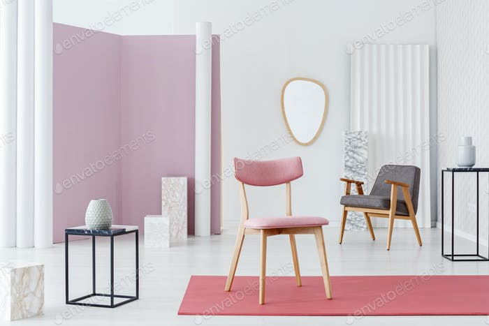 Pink chair in luxurious interior