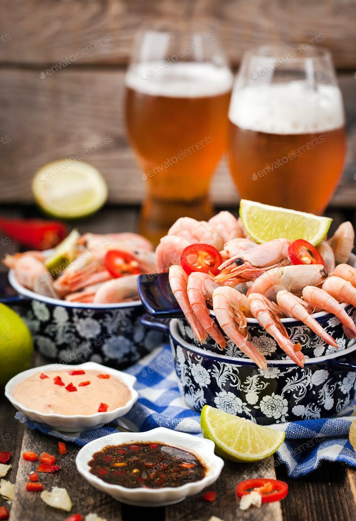 Shrimps appetizer and beer