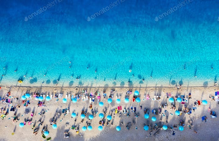 Zlatni Rat beach, Croatia. Aerial seascape.