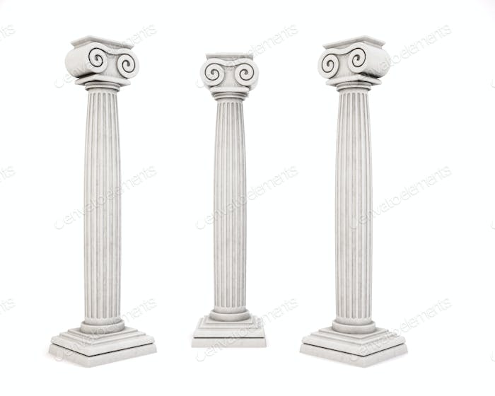 Three historic architectural column isolated on white background