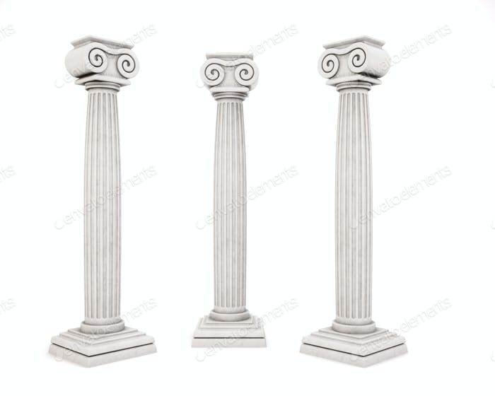 Drei historische architektonische Säule isoliert auf weißem Hintergrund