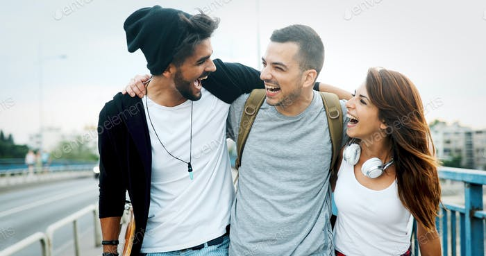 Group of happy friends hang out together