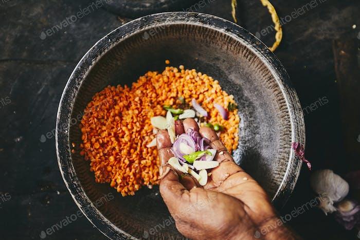 Preparación de arroz y harina de curry