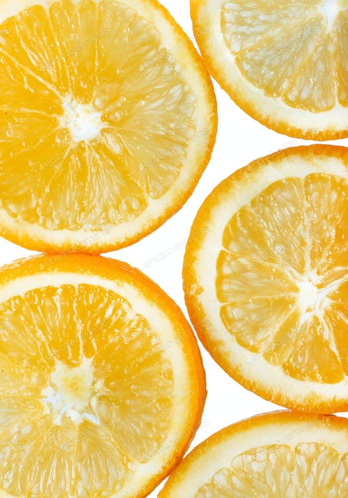 background with orange citrus fruit slices. Studio photography