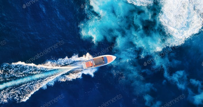 Fast boat. Aerial view