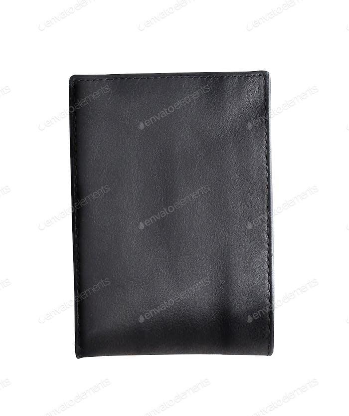 Schwarze Brieftasche isoliert auf weißem Hintergrund