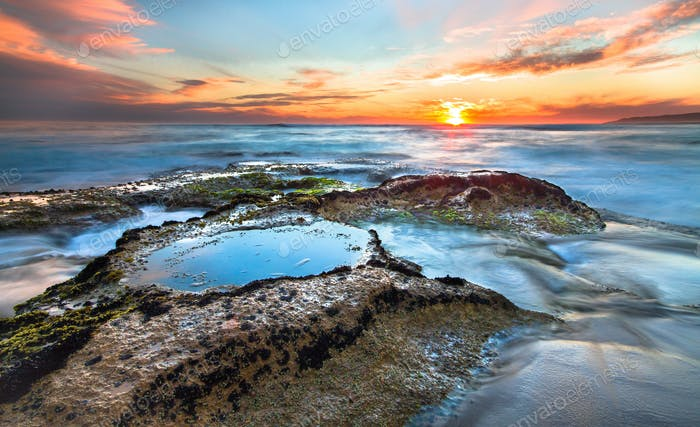 Long Exposure of Tidepools at Sunset in Australia