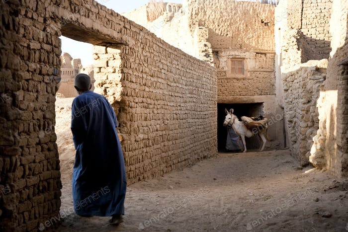 Rear view of man wearing caftan walking through wall doorway, donkey in background.
