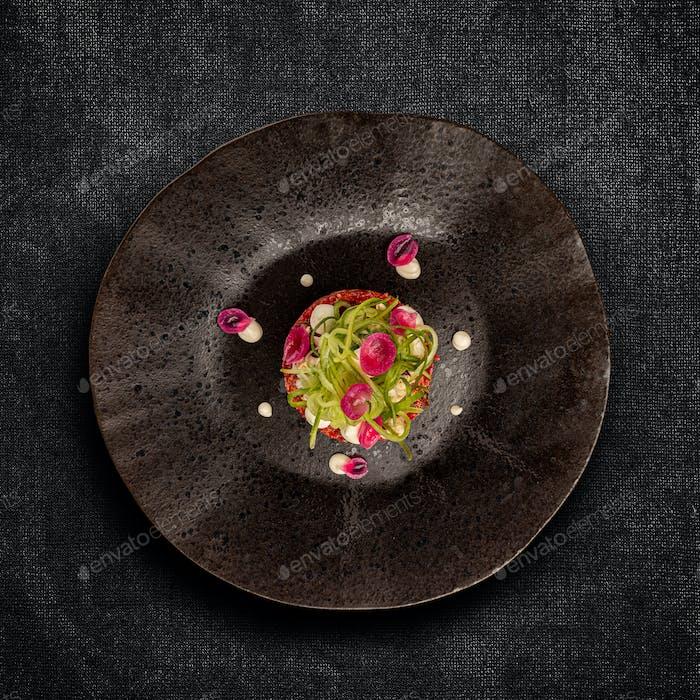 Gourmet tartar raw from beef fillet