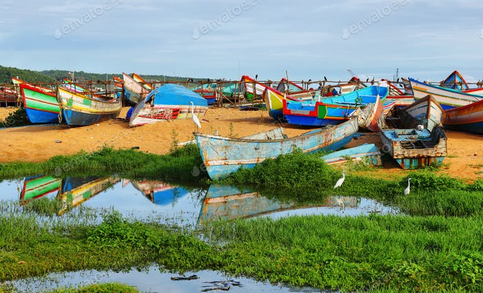 Fishing boats at Vizhinjam harbor, Kovalam, Kerala, India