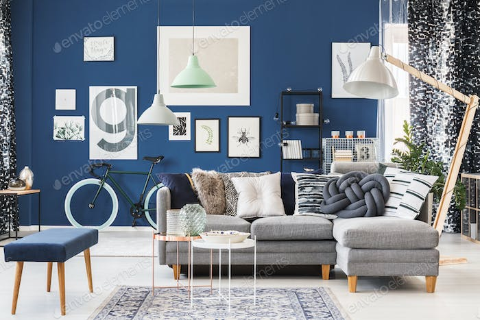 Blue apartment with trendy accessories