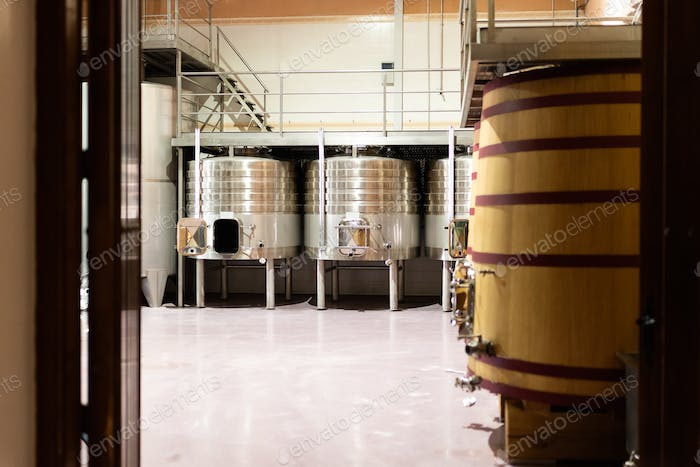 Modern winery with big steel barrels