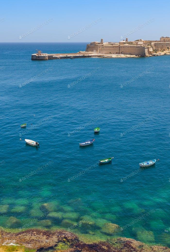 Boats Moored off Valletta in Malta