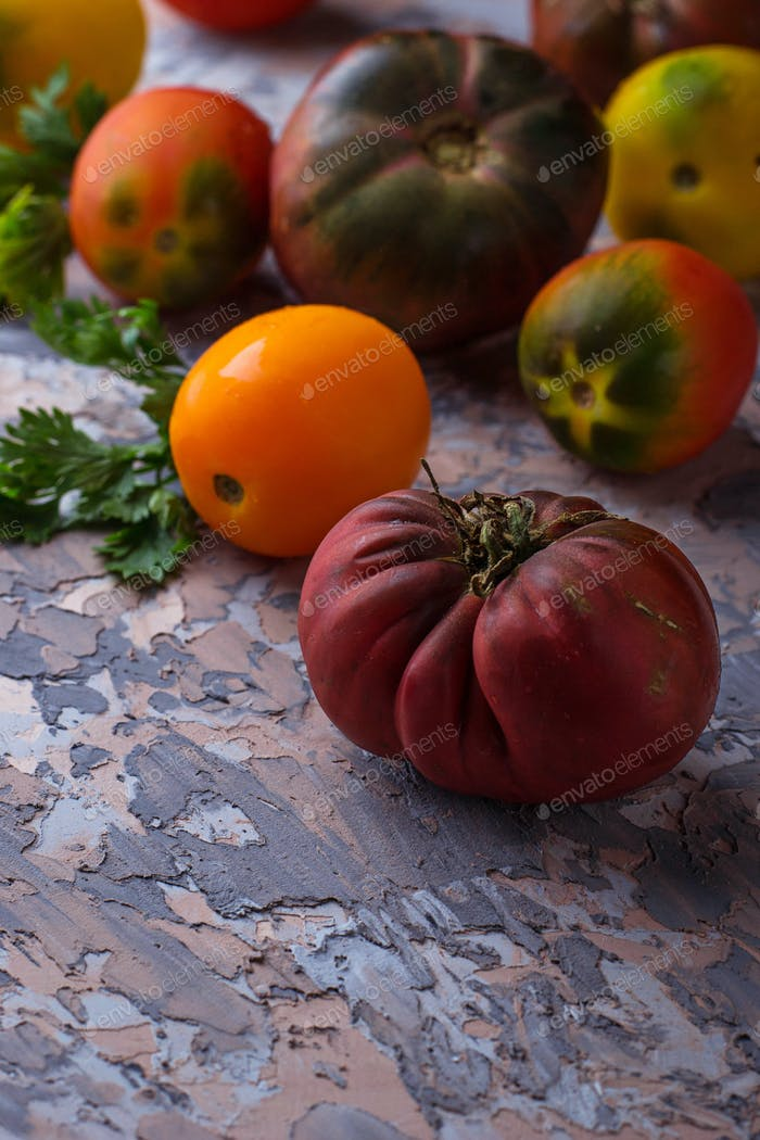 Different sort of tomato on concrete background