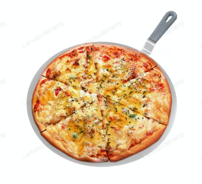 Appetizing pizza isolated on white.