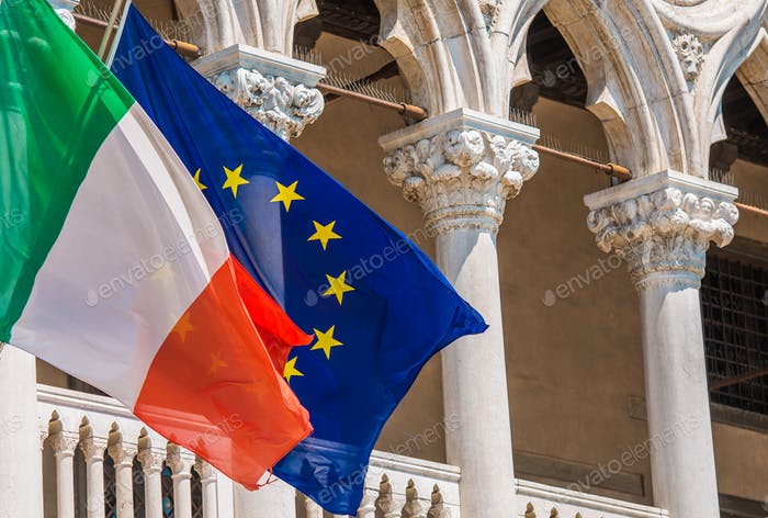 Italy and European Union Flags