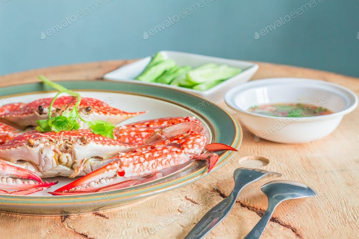 Steamed crab on a table