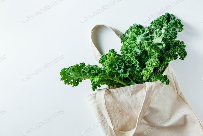 Fresh Kale leaves in a canvas bag