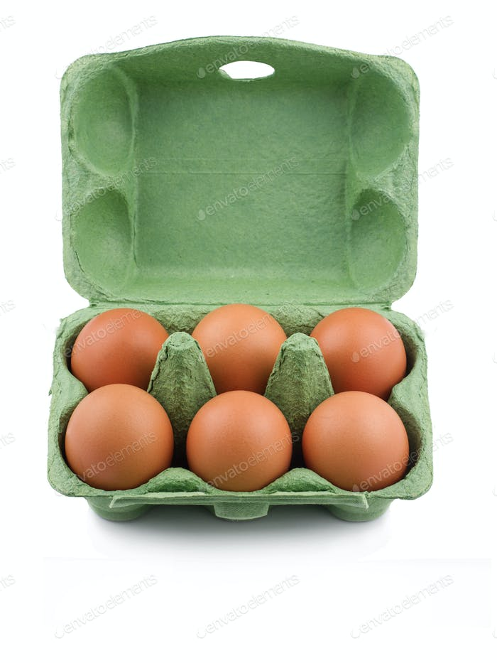 Green eco six egg cardboard open packaging