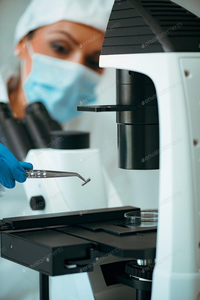Techniker prüft die Qualität von Chipimplantaten