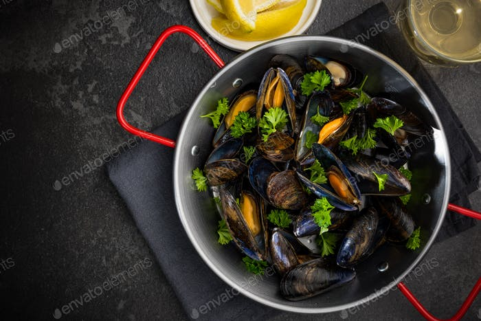 Seafood Dish, Mussels with Parsley,Lemon and White Wine, Top Vie