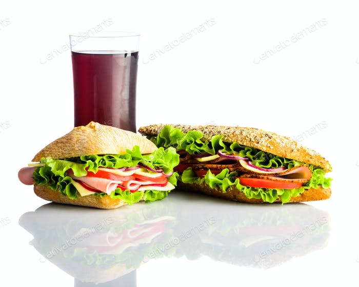 Cold Cola with Sandwich and Burger Isolated on White