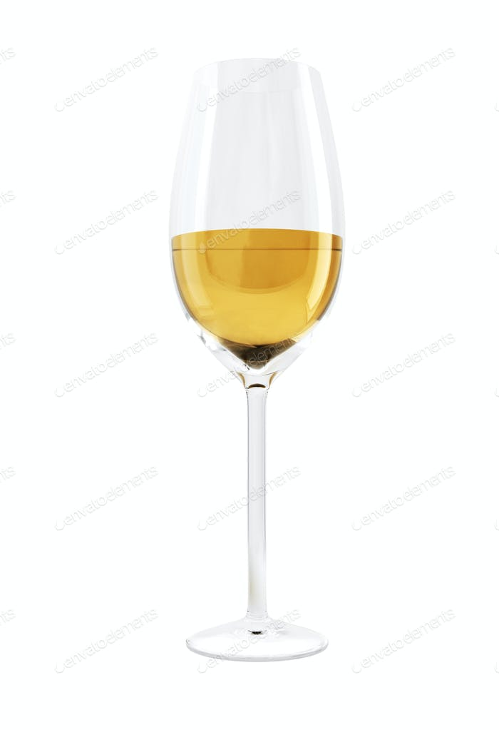 Glass of wine isolated on white background.