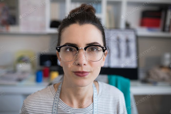 Female designer wearing spectacles