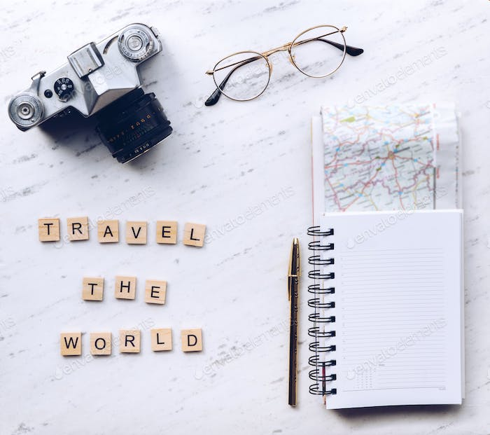 Travel the world words made from wooden letters. Travel concept