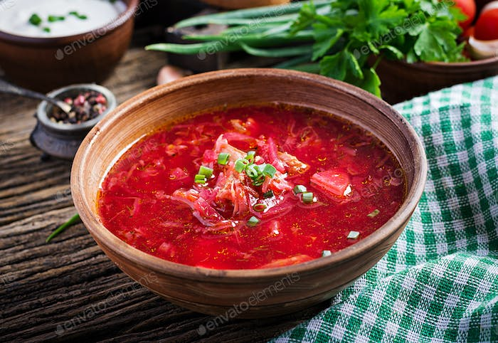 Thumbnail for Traditional Ukrainian Russian borscht or red soup in the  bowl.