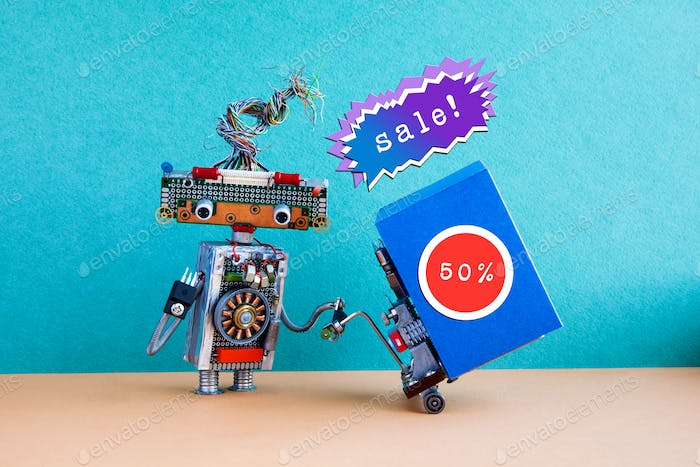 Funny robot moving shopping cart big blue box