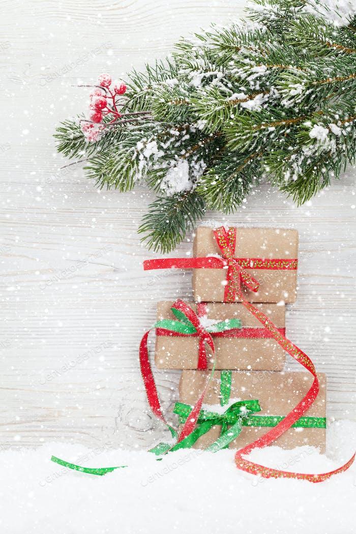 Christmas gift boxes and xmas fir tree
