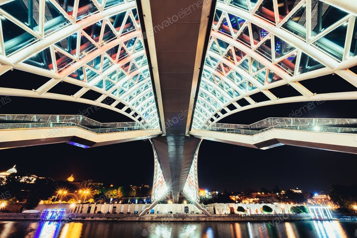 Detail view of Peace bridge in Tbilisi at night, Georgia