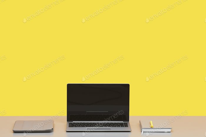 Minimal Workplace Background against Yellow