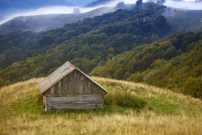 Wooden cottage in the mountains
