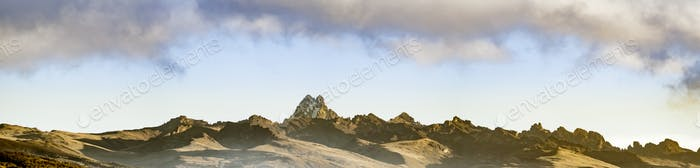 Wide panorama of the ridgeline of Mount Kenya.
