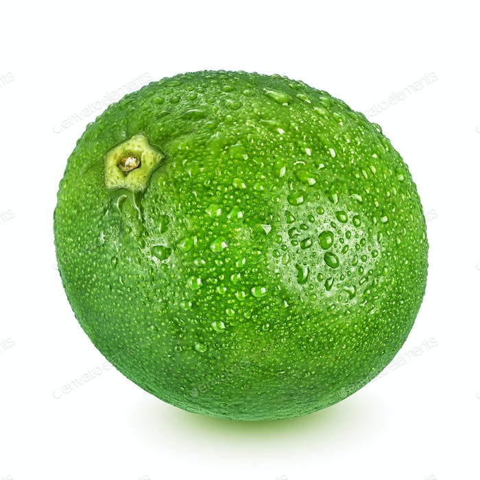 Whole wet lime with leaf isolated on white