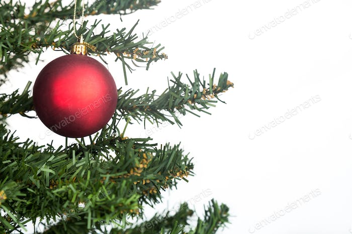 White Christmas background with fir tree red and ornament.