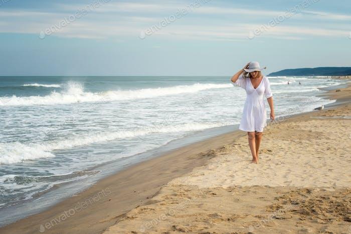 Woman at a sandy beach
